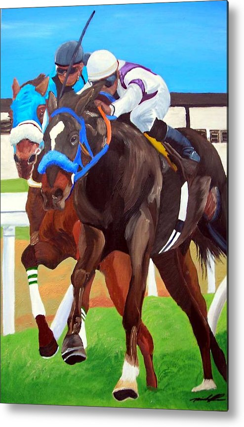 Horse Racing Metal Print featuring the painting By A Nose by Michael Lee