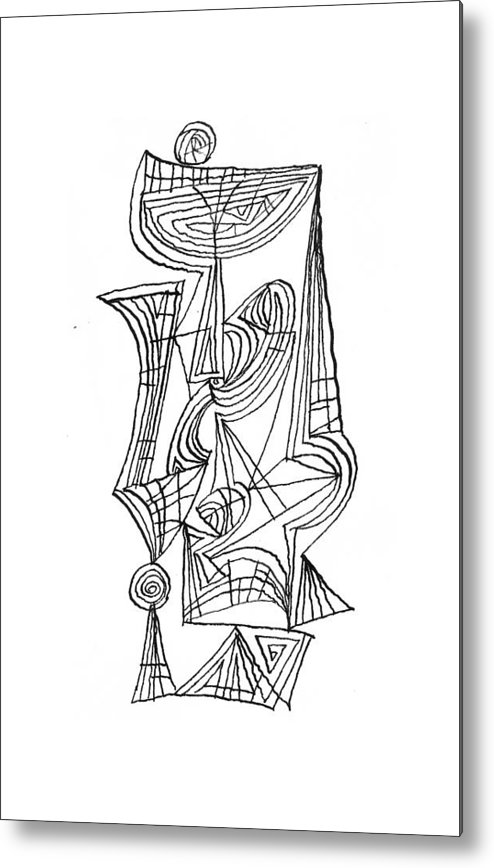 Black And White Metal Print featuring the drawing Composition One by Vladimir Kozma