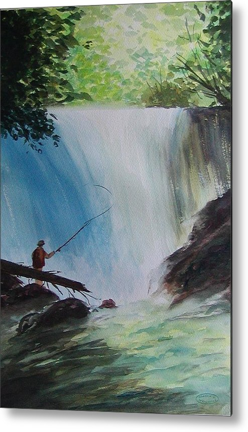 Fishing Landscape Metal Print featuring the painting Gone Fishing by Sharon Steinhaus