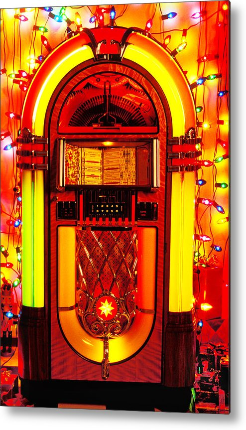 Juke Box Metal Print featuring the photograph Juke Box With Christmas Lights by Garry Gay