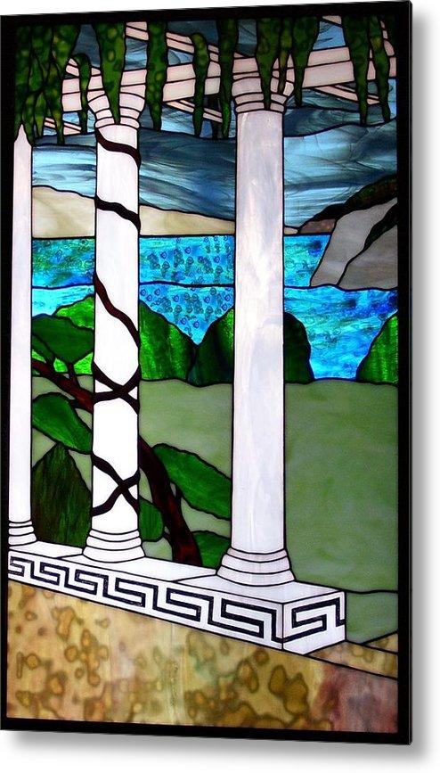 Landscape Metal Print featuring the glass art Marina's Terrace by Barbara Harris