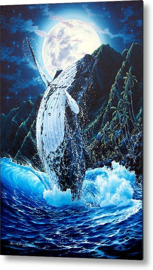 Dolphin Metal Print featuring the painting Moondance by Daniel Bergren