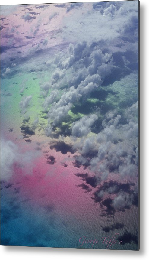 Caribbean Polarized Clouds Ocean Flight Airplanewindow Metal Print featuring the photograph Polarized Caribbean by George Tuffy