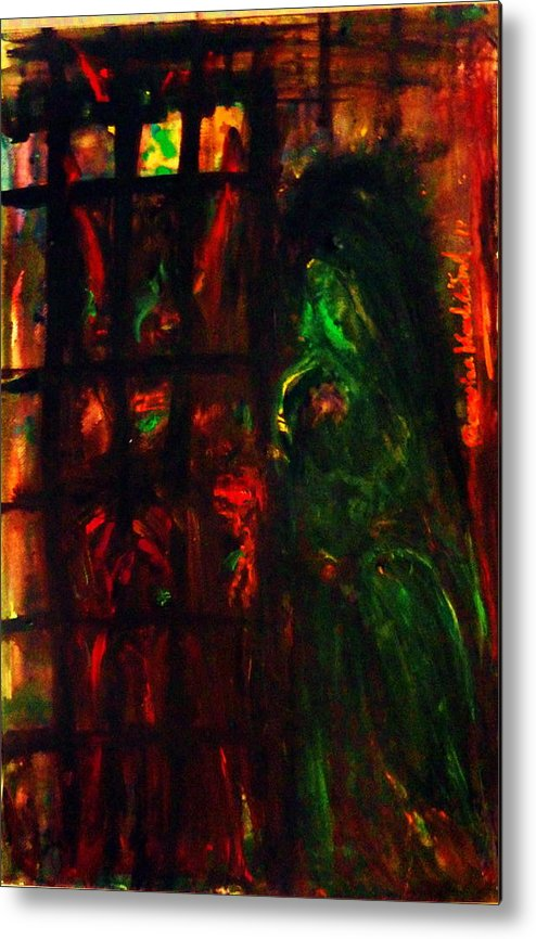 Abstract Metal Print featuring the painting Prison Of Evil. by Wanvisa Klawklean