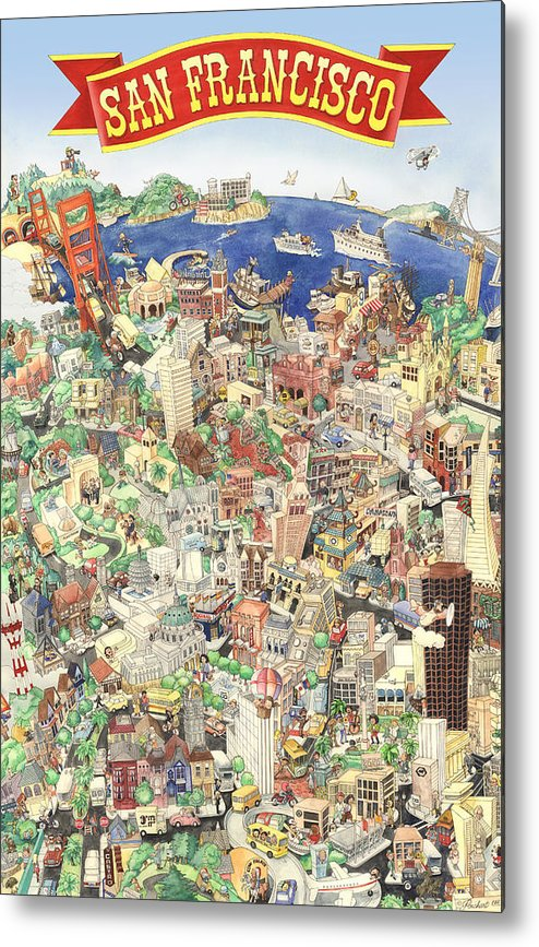 San Francisco Metal Print featuring the painting San Francisco - Where East Meets West by Philippe Plouchart