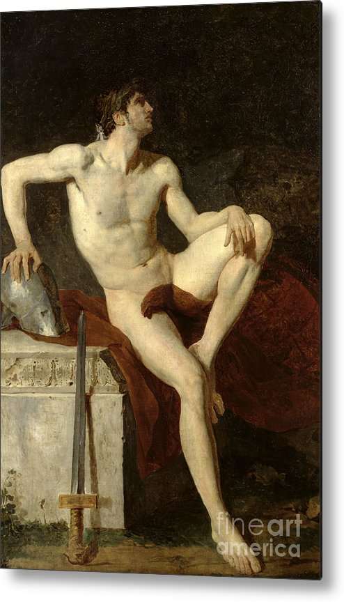 Seated Metal Print featuring the painting Seated Gladiator by Jean Germain Drouais