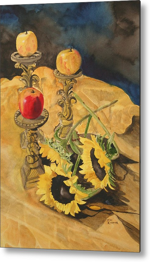 Still Life Metal Print featuring the painting Sunflowers And Apples by Jean Blackmer