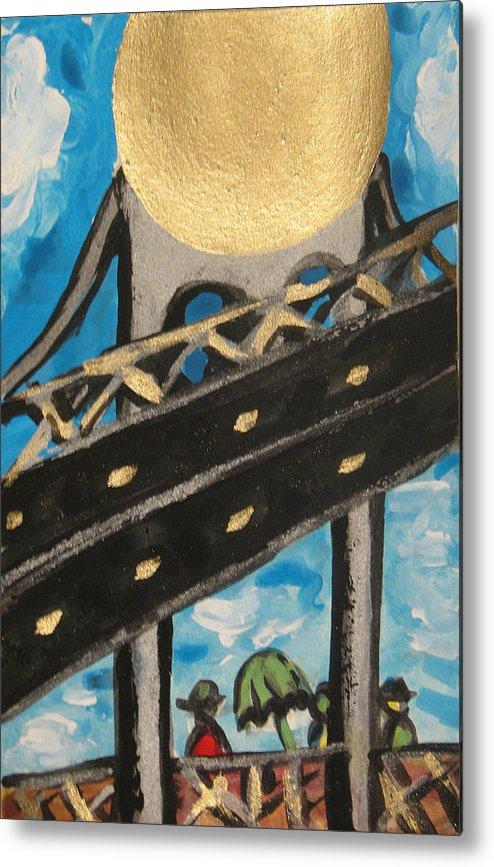 Urban Art Metal Print featuring the painting Under Brooklyn Bridge Ny II by Krisztina Asztalos