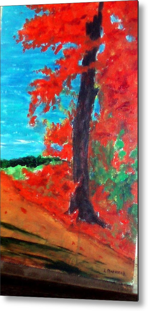 Fall Metal Print featuring the painting Path To The Lake by Lia Marsman