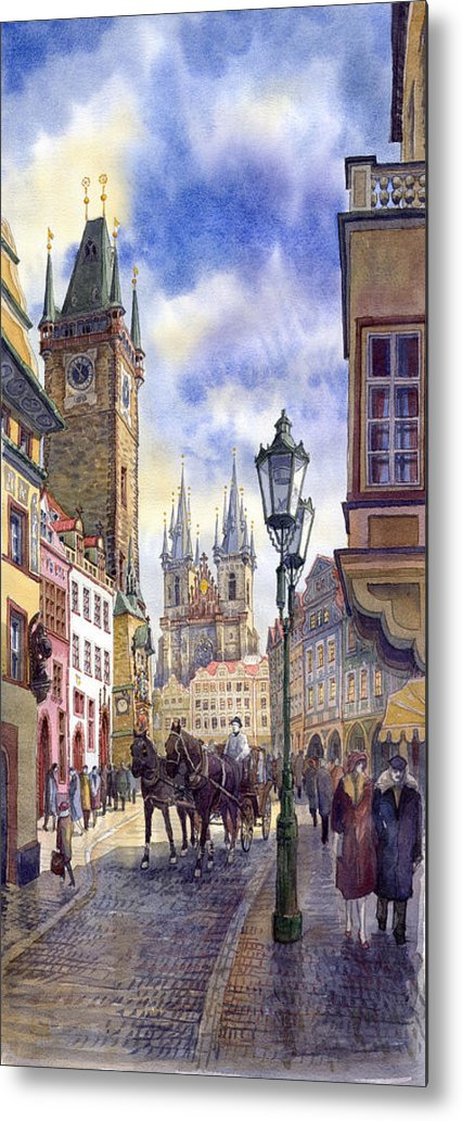 Watercolour Metal Print featuring the painting Prague Old Town Square 01 by Yuriy Shevchuk