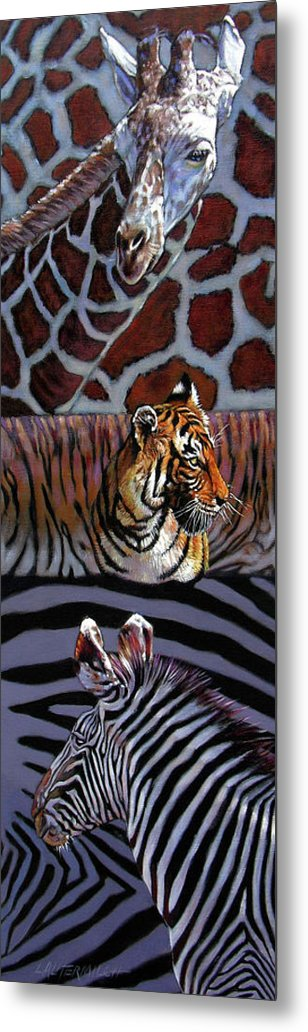 Animals Metal Print featuring the painting Designs For Defense And Offense by John Lautermilch