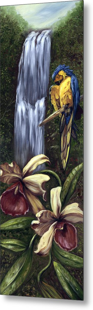 Birds Metal Print featuring the painting Guardian Of The Falls by Anne Kushnick