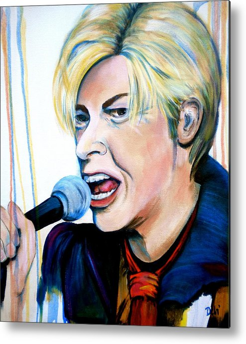 David Bowie Metal Print featuring the painting David Bowie by Debi Starr