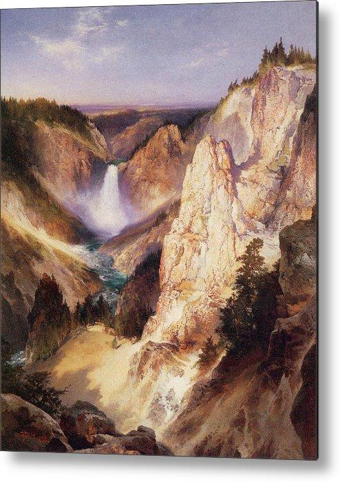 Thomas Moran Metal Print featuring the digital art Great Falls Of Yellowstone by Thomas Moran