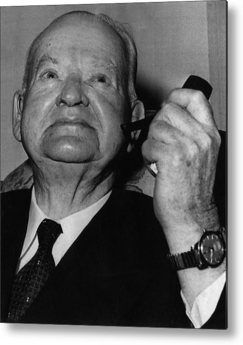 1950s Candids Metal Print featuring the photograph Former President Herbert Hoover by Everett