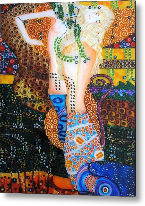 Artnouveau Metal Print featuring the painting Water Serpents Reply By Gustav Klimt by Gabriela Stavar