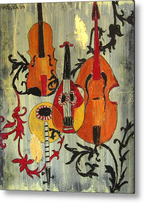 Music Metal Print featuring the painting Baroque 1 by Aliza Souleyeva-Alexander