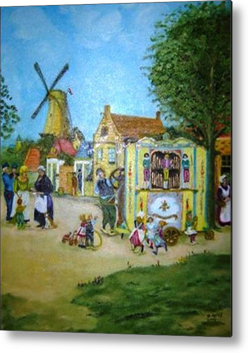 Street Scene Metal Print featuring the painting The Music Man by Gloria M Apfel
