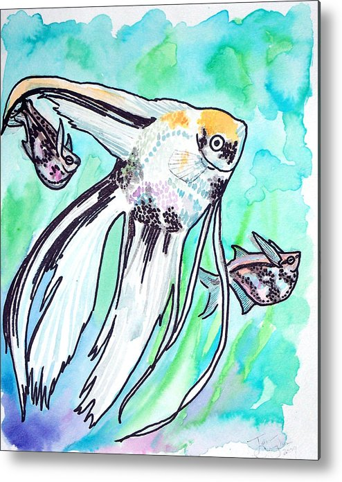 Fish Metal Print featuring the painting Angel Fish And Hatchet Tetras by Jenn Cunningham