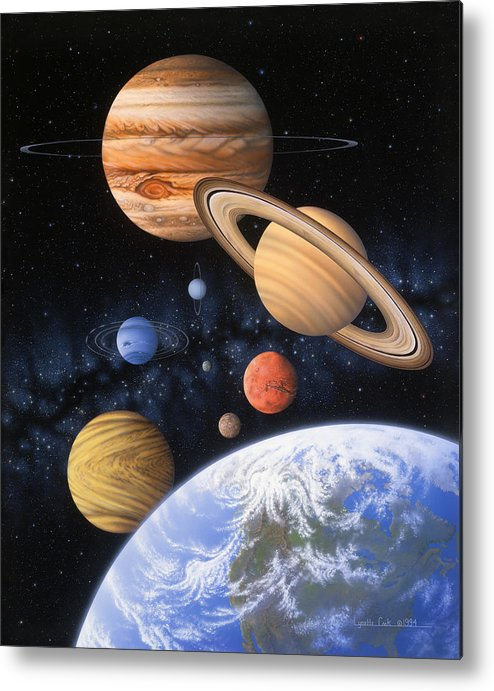 Lynette Cook Metal Print featuring the painting Beyond The Home Planet by Lynette Cook