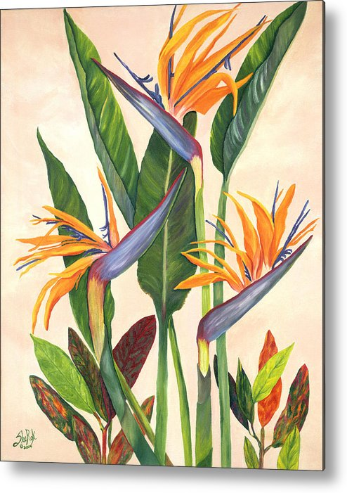 Floral Metal Print featuring the painting Bird Of Paradise by SheRok Williams
