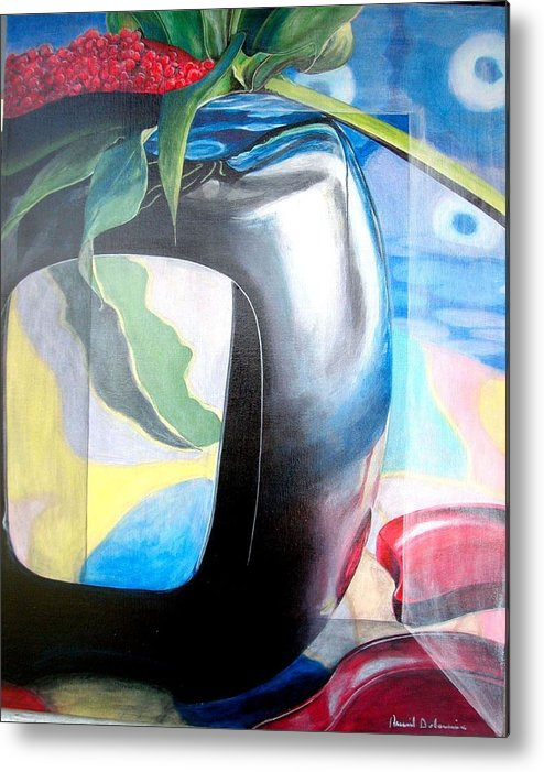 Nature-morte Metal Print featuring the painting Cadre by Muriel Dolemieux