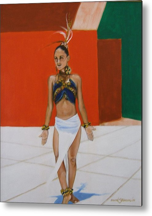 Dancer In Costume Metal Print featuring the painting Dancer In Costume by Howard Stroman