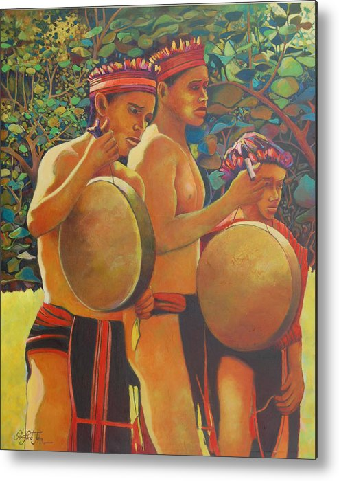 Metal Print featuring the painting Drumbeat Of The Kalinago by Glenford John