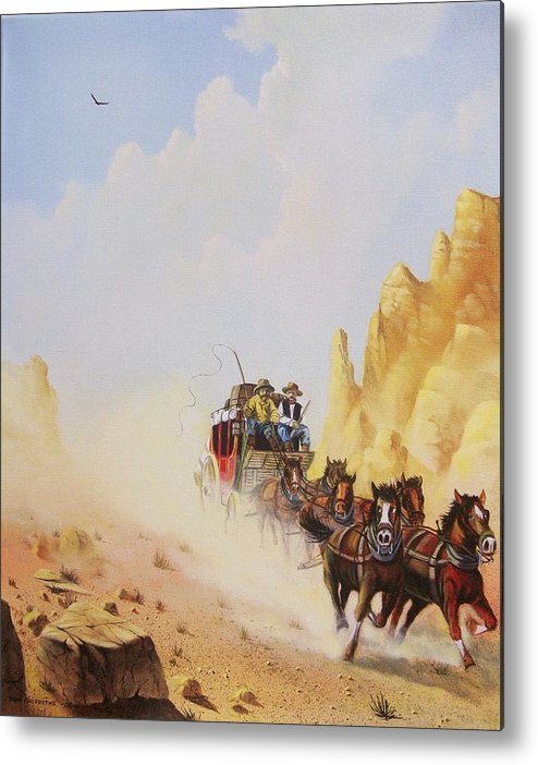 Western Metal Print featuring the painting Express Run by Don Griffiths