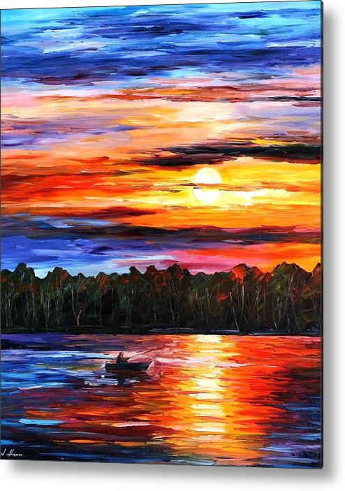 Seascape Metal Print featuring the painting Fishing By The Sunset by Leonid Afremov