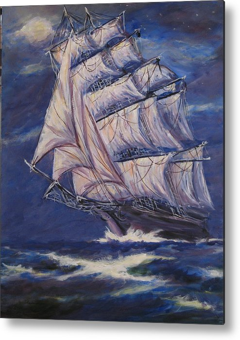 Sailing Ship Metal Print featuring the painting Full Sails Under Full Moon by Thomas Restifo