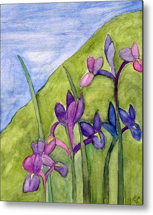 Flowers Metal Print featuring the painting Iris Meadow by Margie Byrne