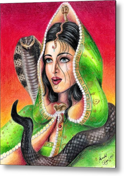 Woman Metal Print featuring the drawing King Cobra by Scarlett Royal