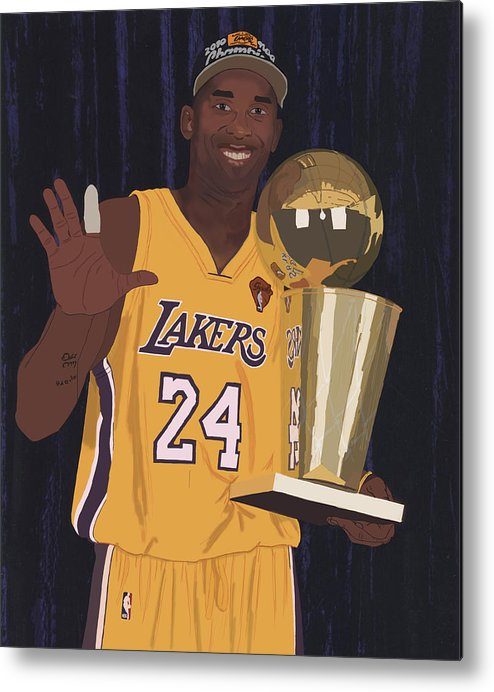Kobe Bryant Metal Print featuring the digital art Kobe Bryant Five Championships by Tomas Raul Calvo Sanchez