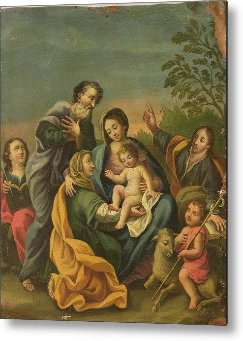 Devotional Metal Print featuring the painting La Familia Con Los Santos Juanes by Unknown