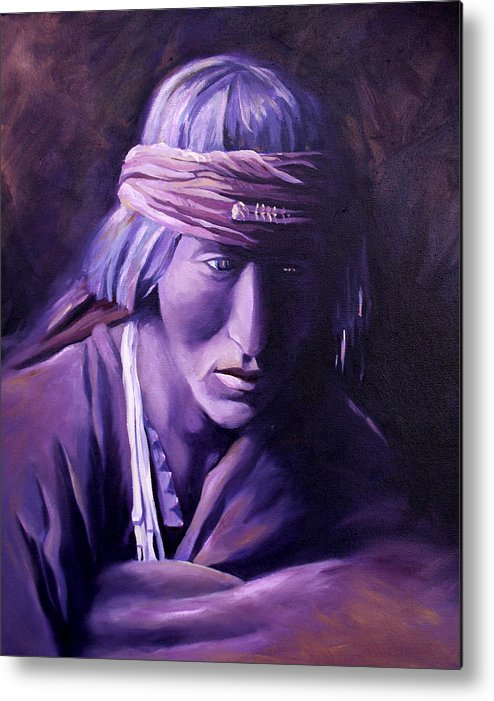 Native American Metal Print featuring the painting Medicine Man by Nancy Griswold