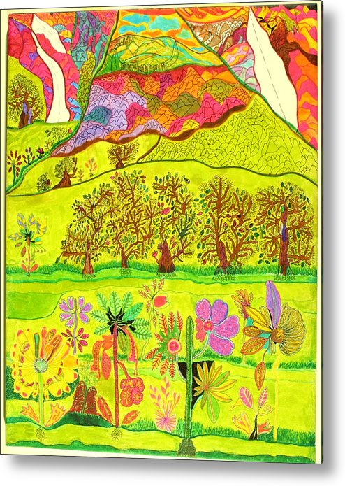 Garden Metal Print featuring the drawing Paradise by Eric Devan