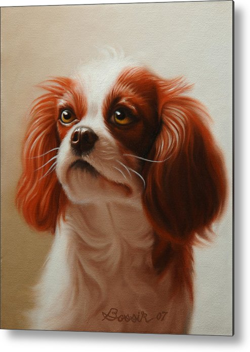 Cavalier King Charles Metal Print featuring the painting Pet Portrait Of A Cavalier King Charles Spaniel by Eric Bossik