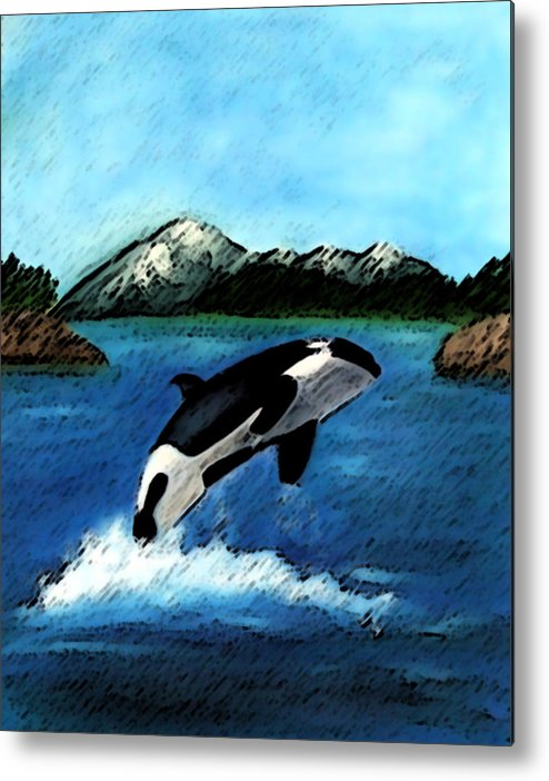 Orca Metal Print featuring the digital art Playful Orca by Mary Gaines