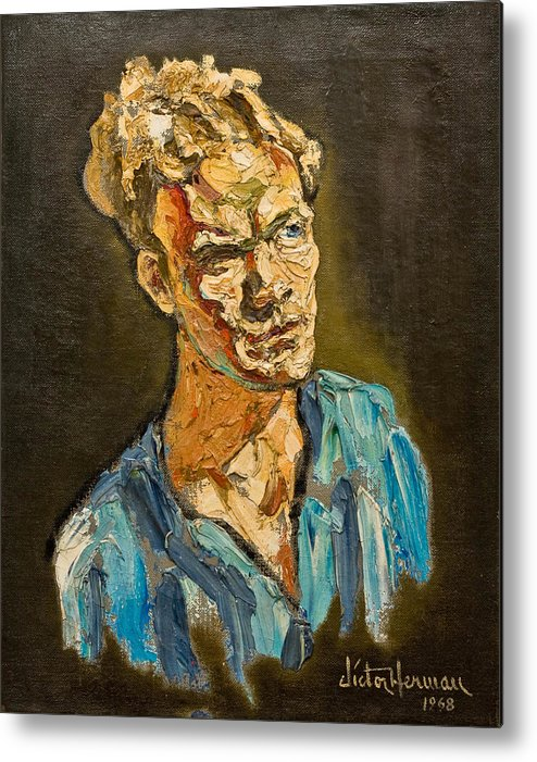 Portrait Metal Print featuring the painting Portrait By Victor Herman 1968 by Joni Herman