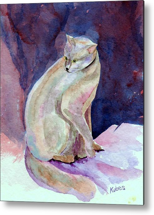Cat Metal Print featuring the painting Purple Cat by Susan Kubes