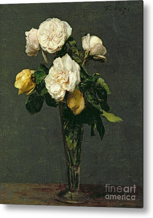Roses Metal Print featuring the painting Roses In A Champagne Flute by Ignace Henri Jean Fantin-Latour