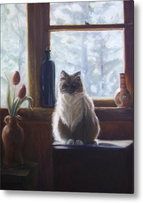 Pets Metal Print featuring the painting Soaking Up The Sun by Tahirih Goffic