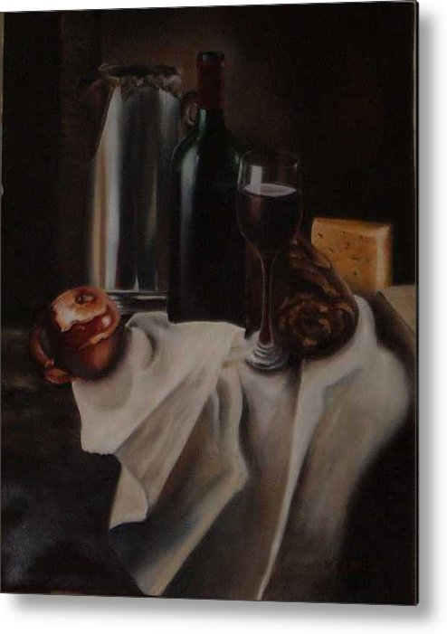 Wine Metal Print featuring the painting Still Life With Apple by Nellie Visser