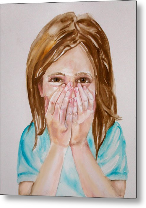 Little Girls Metal Print featuring the painting Tickled Pink by Anne Cameron Cutri
