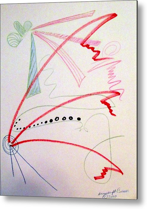 Abstract Metal Print featuring the drawing Untitled by Arlene Wright-Correll