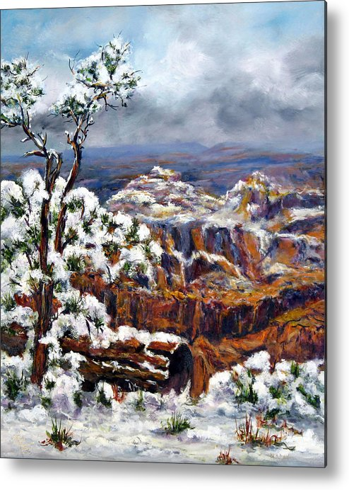 Landscape Metal Print featuring the painting Winter Canyon by Thomas Restifo