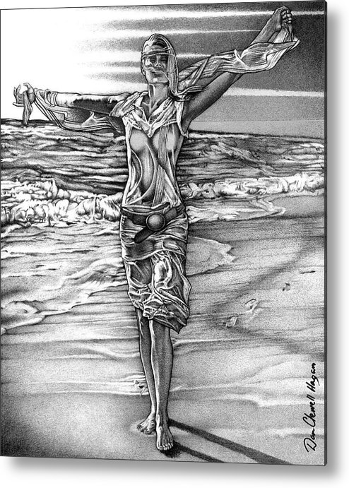 Female Metal Print featuring the drawing Woman With Arms Up by Dan Clewell
