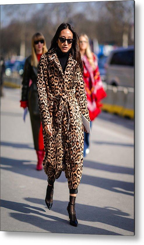 b1e90422a Jacket Metal Print featuring the photograph Street Style   Paris Fashion  Week Womenswear Fall winter