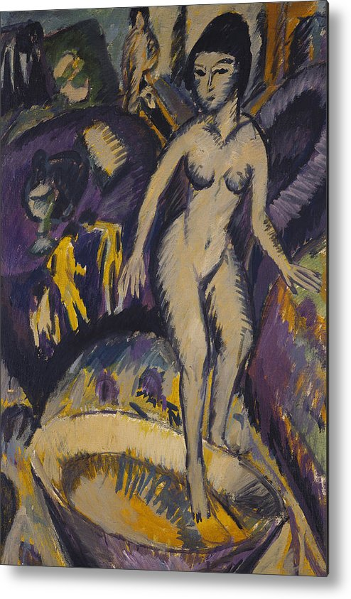 Kirchner Metal Print featuring the painting Female Nude With Hot Tub by Ernst Ludwig Kirchner
